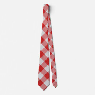 Red Gingham Check - Diagonal Pattern Tie