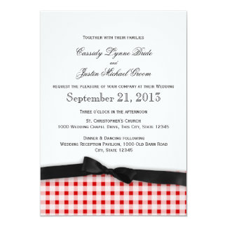 Red Gingham Check Pattern with Ribbon 13 Cm X 18 Cm Invitation Card