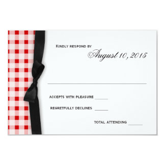Red Gingham Check Pattern with Ribbon Response Card