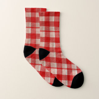 Red Gingham Checkered Pattern Burlap Look 1