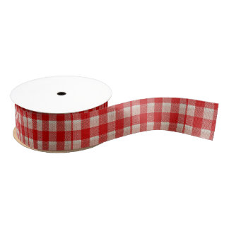 Red Gingham Checkered Pattern Burlap Look Grosgrain Ribbon