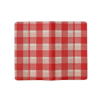Red Gingham Checkered Pattern Burlap Look Large Moleskine Notebook