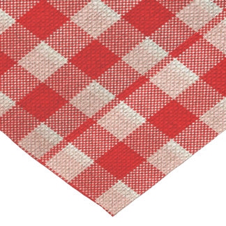 Red Gingham Checkered Pattern Burlap Look Short Table Runner