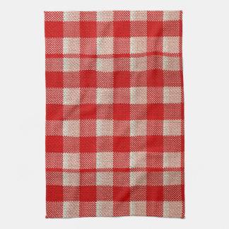 Red Gingham Checkered Pattern Burlap Look Tea Towel