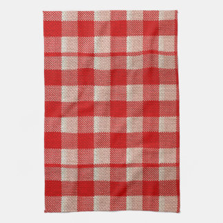 Red Gingham Checkered Pattern Burlap Look Towel