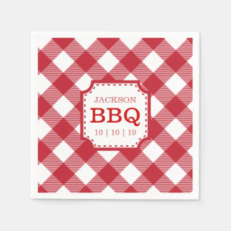 Red Gingham Checkered Pattern Paper Napkin