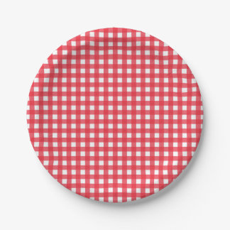 Red Gingham Checkered Rustic Country Picnic Party 7 Inch Paper Plate