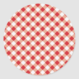 Red Gingham Classic Round Sticker