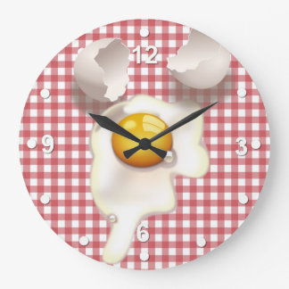 Red Gingham Cracked Egg Kitchen Wall Clock