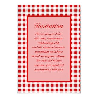 Red Gingham + Custom Color 13 Cm X 18 Cm Invitation Card