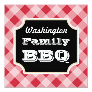 Red Gingham Custom Summer Family BBQ Invitations