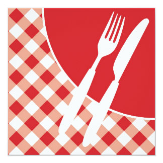Red Gingham & Cutlery 13 Cm X 13 Cm Square Invitation Card