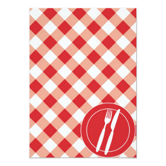 Red Gingham & Cutlery 13 Cm X 18 Cm Invitation Card