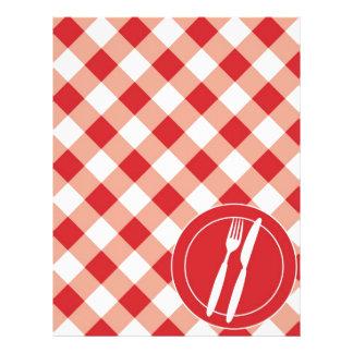 Red Gingham & Cutlery 21.5 Cm X 28 Cm Flyer