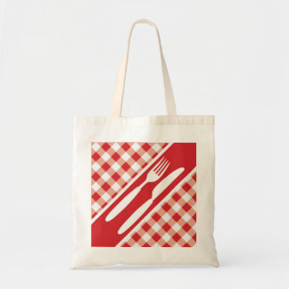Red Gingham & Cutlery Tote Bags