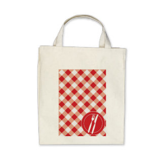 Red Gingham & Cutlery Canvas Bags