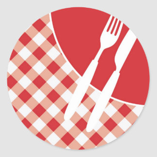 Red Gingham & Cutlery Classic Round Sticker