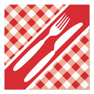 Red Gingham Cutlery Custom Announcements