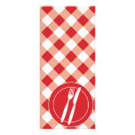 Red Gingham & Cutlery Customized Rack Card