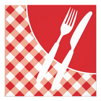 Red Gingham Cutlery Personalized Invite