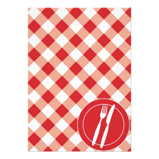 Red Gingham Cutlery Personalized Announcements