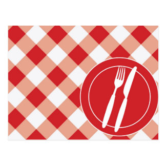 Red Gingham & Cutlery Postcard