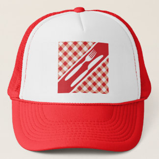 Red Gingham & Cutlery Trucker Hat