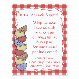 "Red Gingham Dishes Invitation 4.25"" X 5.5"" Invitation Card"