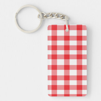 Red Gingham Double-Sided Rectangular Acrylic Key Ring