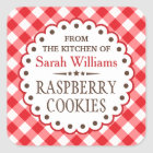 Red gingham from the kitchen of cookie swap square sticker
