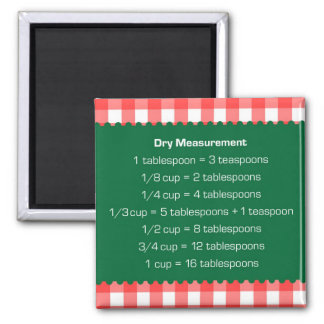 Red gingham green dry measure chart kitchen helper square magnet