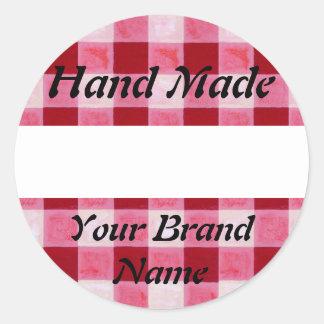 Red Gingham Hand Made Label Round Sticker