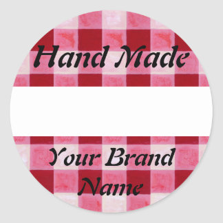 Red Gingham Hand Made Label Round Stickers