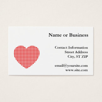 Red Gingham Heart Business Card