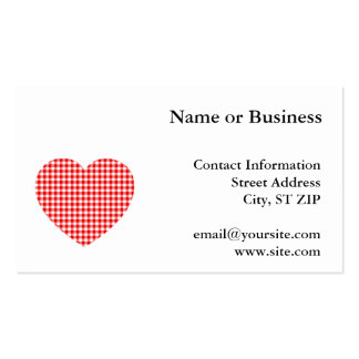 Red Gingham Heart Pack Of Standard Business Cards