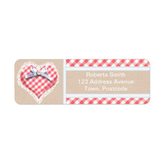 Red Gingham Heart with bow graphic