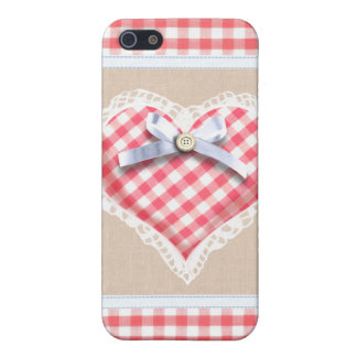 Red Gingham Heart with bow graphic Case For The iPhone 5