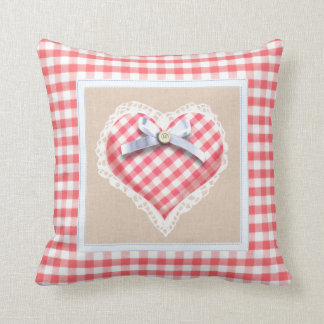 Red Gingham Heart with bow graphic Cushion
