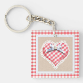 Red Gingham Heart with bow graphic Key Ring