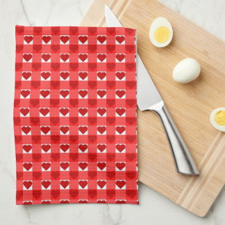 Red Gingham Hearts Tea Towel