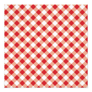 Red Gingham Personalized Announcements