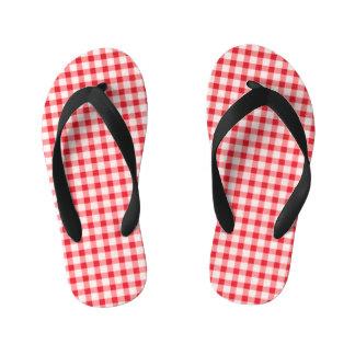 Red Gingham Kids Flip Flops