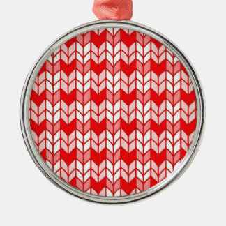 Red Gingham Knit Premium Round Ornament