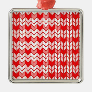 Red Gingham Knit Premium Square Ornament
