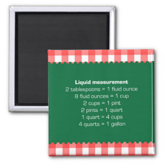 Red gingham liquid measure chart kitchen helper square magnet