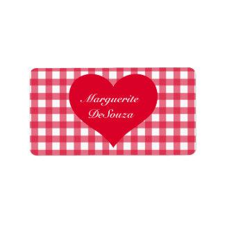 Red Gingham Love Address Label