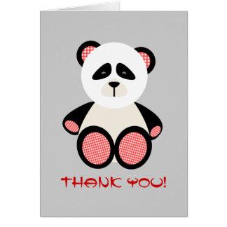 Red Gingham Panda Bear Baby Shower Thank You Greeting Card