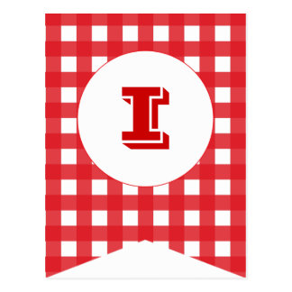 Red Gingham Party Flag Bunting Banner Post Card