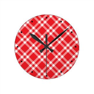 Red Gingham Pattern Round Clock