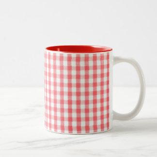 Red Gingham Pattern Two-Tone Coffee Mug